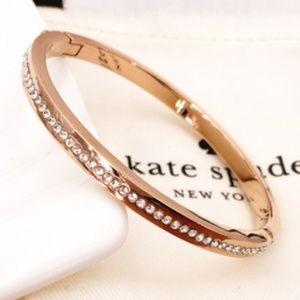 Kate Spade Rose Gold Pave Hinged Bangle Bracelet